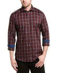 Bugatchi Gingham Shaped Fit Woven Shirt - Red