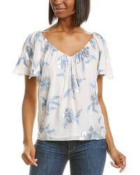 Rebecca Taylor Met Fleur Silk-blend Top - Blue