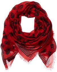 Alexander McQueen Skull Wool-blend Scarf - Red