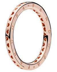 PANDORA Rose 18k Plated Signature Hearts Logo Ring - Pink