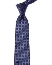 Canali Blue Geometric Silk Tie