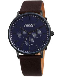 August Steiner Men's Genuine Leather Watch - Blue