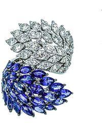 Arthur Marder Fine Jewelry 18k 8.60 Ct. Tw. Diamond & Sapphire Ring - Blue