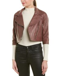 Yigal Azrouël Cropped Leather Moto Jacket - Multicolor