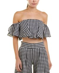 MISA Los Angles Lunna Gingham Tube Cropped Top - Black