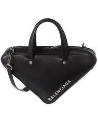 Balenciaga Triangle Duffle Xs Leather Shoulder Bag - Black