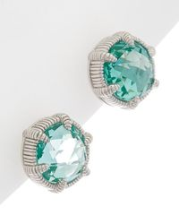 Judith Ripka Eclipse Silver 8.80 Ct. Tw. Pariaba Spinel Studs - Green