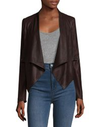 Lamarque Leather Cowl Neck Asymmetrical Biker Jacket - Black