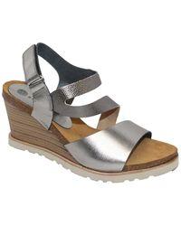Eric Michael Delaney Leather Wedge Sandal - Metallic