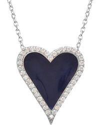 Gabi Rielle 22k White Gold Over Silver Cz & Enamel Heart Necklace - Blue