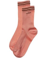 Fendi Knit Stripes Socks - Pink
