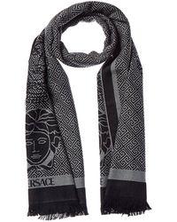 Versace Dual Medusa Logo'd Wool Scarf - Black