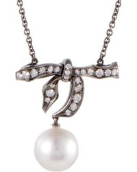 Mikimoto 18k & Rhodium 0.57 Ct. Tw. Diamond & 10-11mm Pearl Bow Necklace - Multicolor