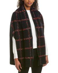 St. John Leather-trim Wool-blend Shawl - Black