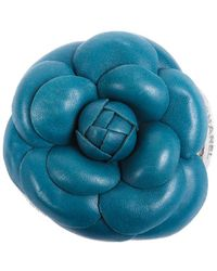 Chanel Teal Leather Camellia Brooch - Blue