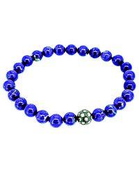 Arthur Marder Fine Jewelry Silver 0.30 Ct. Tw. Diamond & Lapis Stretch Bracelet - Blue