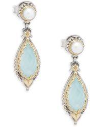 Konstantino - 3-4mm White Pearl, Sea Blue Agate, Sterling Silver & 18k Yellow Gold Earrings - Lyst
