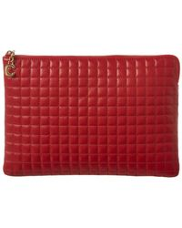 Céline C Charm Quilted Leather Pouch