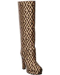 Gucci Rhombus Knee High Boot - Brown