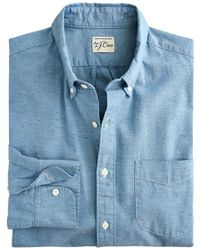 J.Crew Slim Neppy Chambray Shirt - Blue