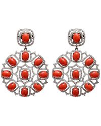 Arthur Marder Fine Jewelry Silver 4.50 Ct. Tw. Diamond & Coral Earrings - Red