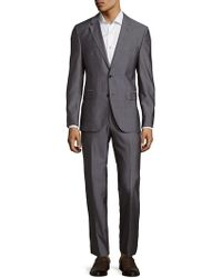 BOSS by Hugo Boss Two-button Long Sleeve Suit - Grey