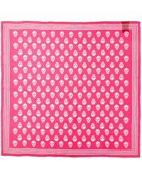 Alexander McQueen Mini Skull Silk Scarf - Pink