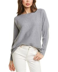 Forte High-low Rib Cashmere-blend Pullover - Gray