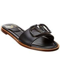 Valentino Vlogo Leather Slide - Black