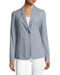 T Tahari Striped Linen-blend Blazer With Trim - Blue