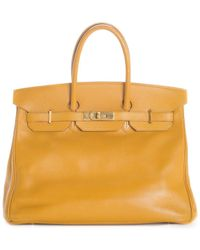 Hermès Gold Clemence Leather Birkin 35 Phw - Yellow