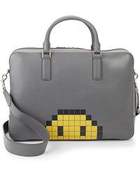 Anya Hindmarch Walton Pixel Smiley Briefcase - Gray