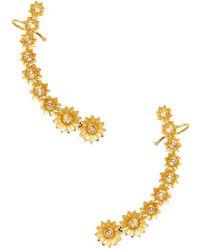 Amrapali - 18k Yellow Gold & 1.68 Total Ct. Diamond Flower Ear Climbers - Lyst