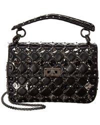Valentino Rockstud Spike.it Quilted Leather Shoulder Bag - Black