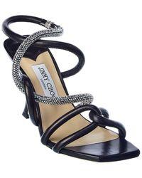 Jimmy Choo Lonnie 90 Leather Sandal - Black