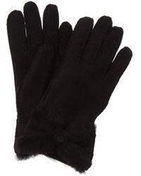 UGG Turned Bow Suede Gloves - Black