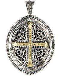 Konstantino Two-tone Cross & Filigree Pendant - Metallic