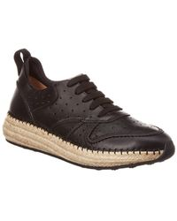 Tod's Leather Espadrille Sneaker - Black