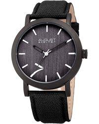 August Steiner Canvas Over Leather Watch - Black