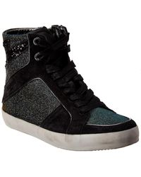 Zadig & Voltaire High Top Leather And Textile Trainers - Black