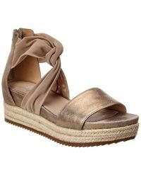 Eileen Fisher Zoe Leather Platform Sandal - Metallic