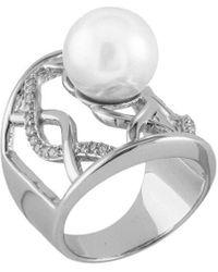 Splendid Splendid Pearl Rhodium Plated 12-12.5mm Pearl Cz Ring - Metallic