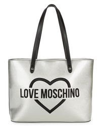 Love Moschino - Argento Metallic Shoulder Bag - Lyst