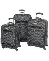 Geoffrey Beene Hearts Fashion Collection Patent-trim 3pc Luggage Set - Grey