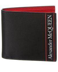 Alexander McQueen Logo Bifold Leather Wallet - Red