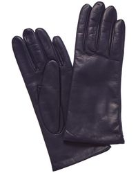 Portolano Cashmere-lined Leather Gloves - Blue
