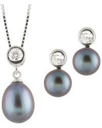 Splendid Rhodium Plated 8-8.5mm Pearl Drop Earrings & Necklace Set - Multicolor