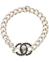 Chanel Silver-tone Crystal Small Cc Turnlock Bracelet - Metallic
