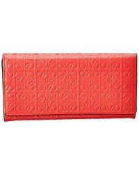 Loewe Leather Continental Wallet - Red