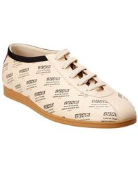 Gucci Falacer Stamp Print Leather Sneaker - White